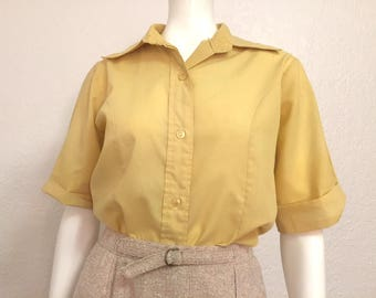 28aa954e Vintage Blouse / 1960s Blouse / 60s Shirt / Vintage Top / Vintage Shirt /  Light shirt / Mustard Yellow Blouse / Button Up / Medium Blouse
