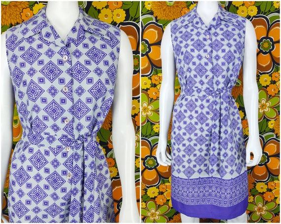 Vintage Dress  Retro Dress  70s Dress  1970s Dress  Purple Gray Dress  Large L Medium M