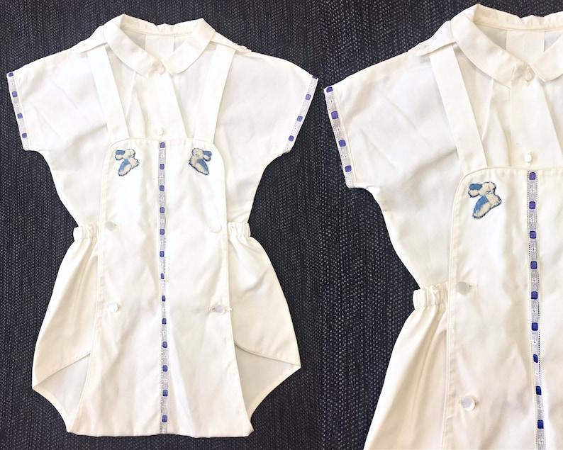 Vintage Overall Set  Vintage Baby Set  1960s Bunny Overalls  Vintage Baby onesie  12 months 12M  18 months 18M