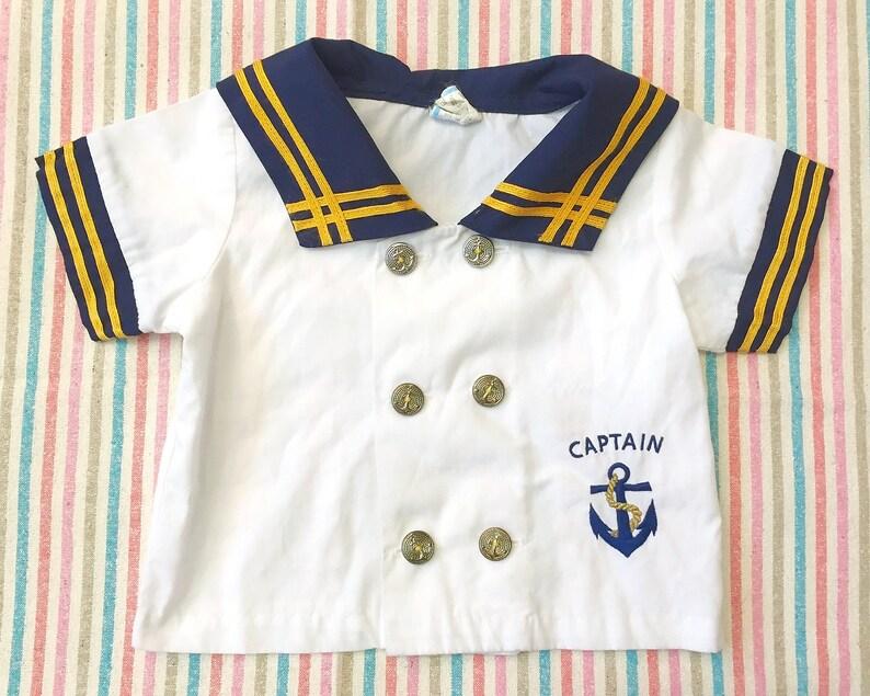 Vintage Baby Top  Captain Infant Sailor Shirt  Retro Baby Jacket  Naval Navy Blue  6M 6 months 9M 9 Months