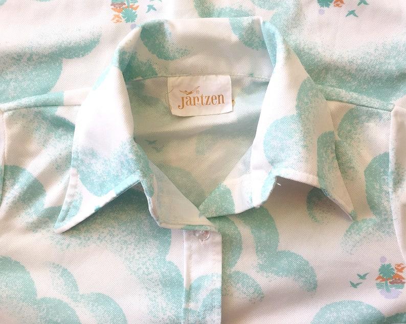 Womens Vintage 1970s Long Sleeved Mint Orange Beach tropical tiki cabana Bird Sky Dress Shirt size small extra small