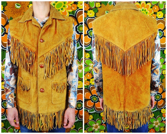 Vintage Leather Vest / Fringe Leather Vest / Suede