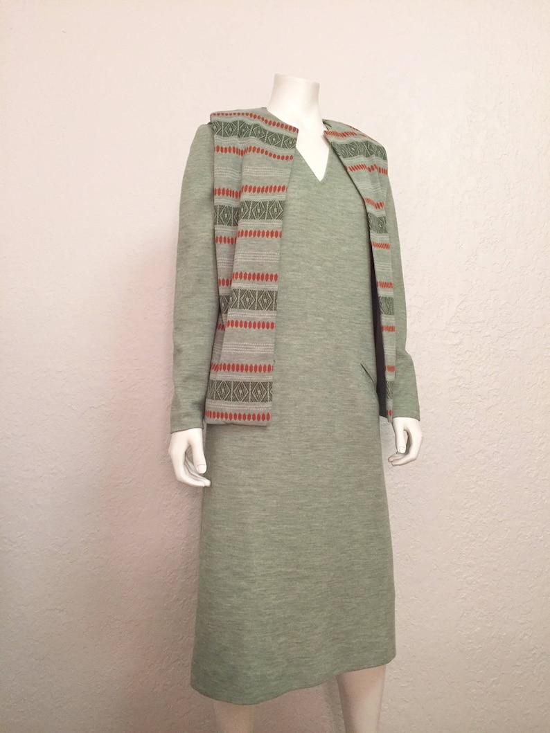 Vintage Dress Set  1970s Green Orange Pocketed Dress  Southwestern Dress  Medium Mid Length Dress  M Brady Bunch Dress  Woodstock Dress