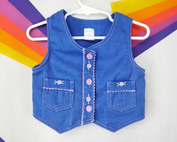 denim vest. kids vest 1980s kids clothes Vintage denim vest Size 3T