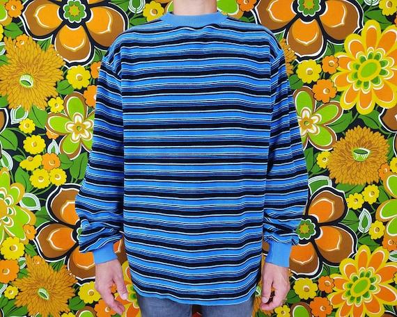 Vintage Sweater / 1970s 70s / Striped Stripes / Bl