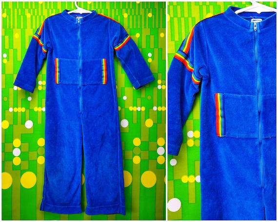 Vintage Onesie / Vintage Velour Girl Jumpsuit / Girls Onesie / 1970s 70s / Blue Rainbow / Baby Bodysuit / 4T Size 4