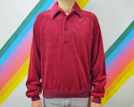Vintage Sweater / 1980s 80s / 1970s 70s / Red / P… - image 1