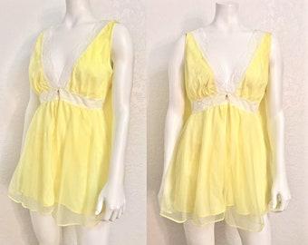 Vintage Lingerie Set / Vintage Teddy Set / Nightgown Matching Panty / New Old Stock Lingerie Set / NOS / Peignoir Set / Medium M Large L