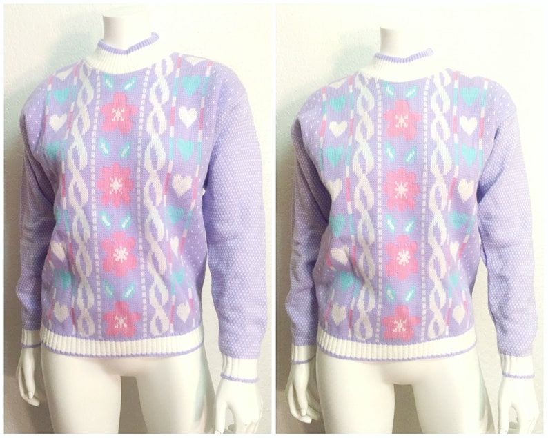 Vintage Sweater  Ugly Sweater  90s Sweater  1980s Sweater  80s Sweater  Retro Sweater  Crewneck Sweater  Purple Pink Blue  Small S
