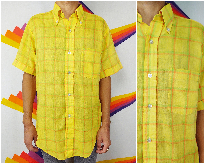 1960s – 70s Men's Ties | Skinny Ties, Slim Ties Vintage ShirtPlaid Mens 1960S 60S Yellow Orange Green Light Short Sleeve Medium M $19.50 AT vintagedancer.com
