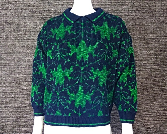 Vintage Sweater / Knit Green Black Sweater / Ugly… - image 1