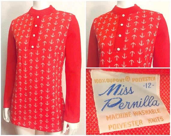 Vintage Knit Polyester   Retro Shirt   Long Sleeved Orange Mod  163f20e38