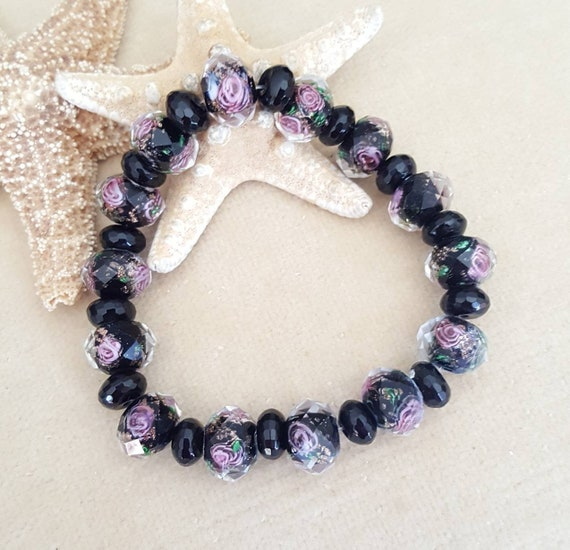 Lampwork & Black Onyx Stretch Bracelet! Stunning Lampwork Beads! Black with a beautiful pink floral design!