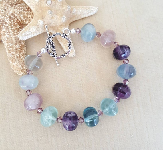 Flourite Bracelet! Vintage beads! Blues, pinks, greens,& purples! Handcrafted with Sterling Silver and sparkling Swarovski crystals!