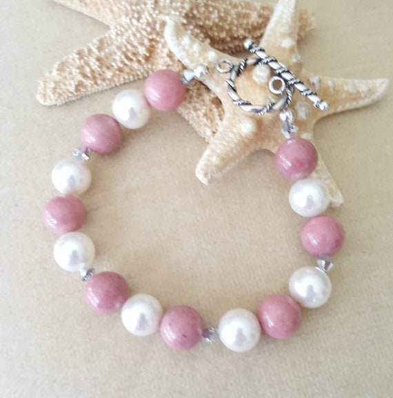 Rhodonite & Pearl Bracelet! Handcrafted with Sterling Silver and twinkling Swarovski crystals! Pink Rhodonite and white freshwater pearls!