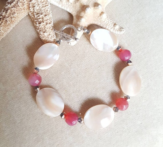 Mother of Pearl & Red Agate Bracelet! Handcrafted with Sterling Silver and twinkling Rose Gold Swarovski crystals! Shell jewelry!