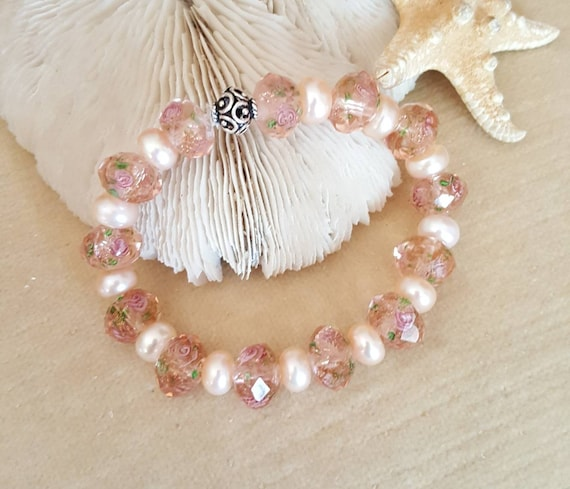 Peach Lampwork & Pearl Stretch Bracelet! Handcrafted with a single Sterling Silver bead!