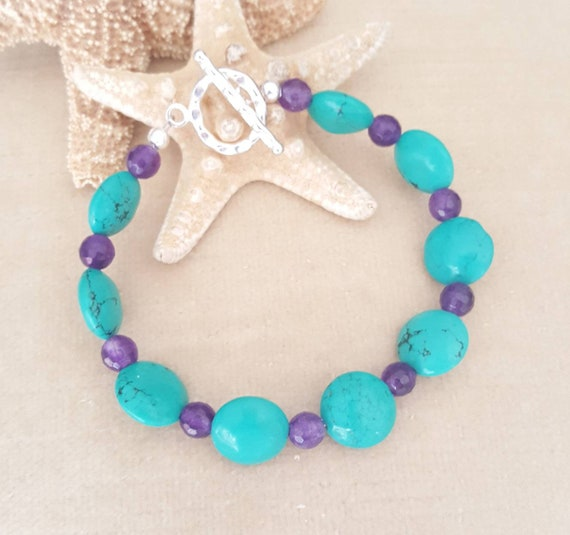 Turquoise & Agate Bracelet! Handcrafted with genuine Turquoise, purple Agate, and Sterling Silver! Beautiful color combination!