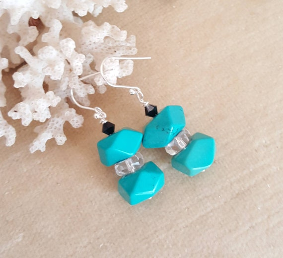 Turquoise & Clear Quartz Dangle Earrings! Handcrafted with Sterling Silver and sparkling Swarovski crystals!