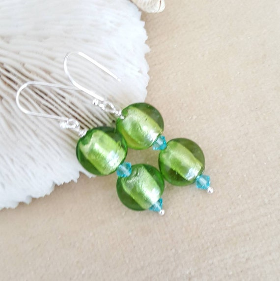 Foil Lampwork Drop Earrings! Green foil beads combined with  sparkling blue Swarovski crystals! Sterling Silver! Gorgeous colors!