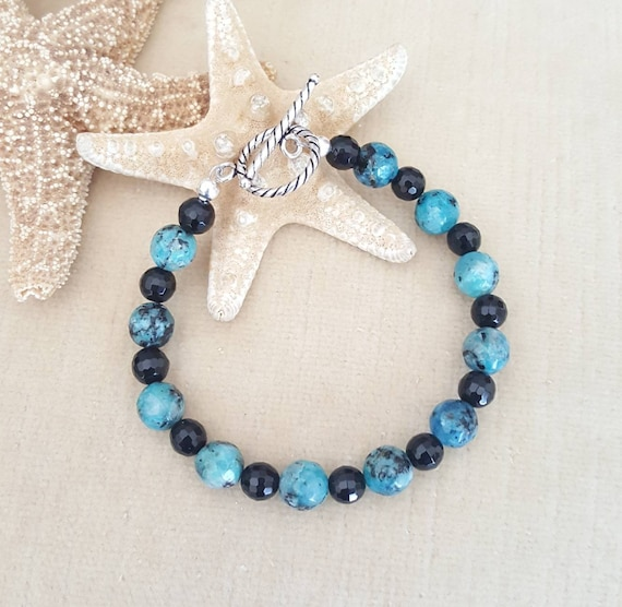 Blue Raspberry Agate & Black Onyx Bracelet! Handcrafted with Sterling Silver!