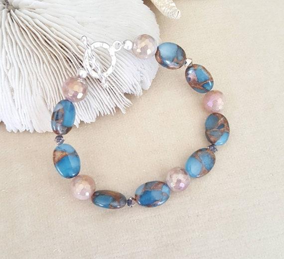 Impression Jasper & Peach Moonstone Bracelet! Handcrafted with Sterling Silver and sparkling Swarovski crystals!