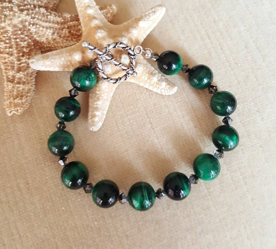 Green Tiger's Eye Bracelet! Handcrafted with Sterling Silver and sparkling Swarovski crystals! Deep Rich green hues!