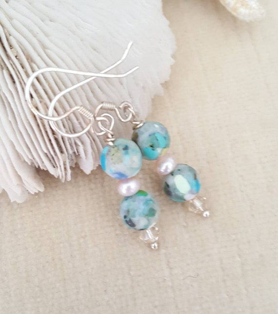 Imperial Jasper drop earrings! Handcrafted with Sterling Silver, genuine freshwater pearls, & twinkling Swarovski crystals! Jasper dangles!
