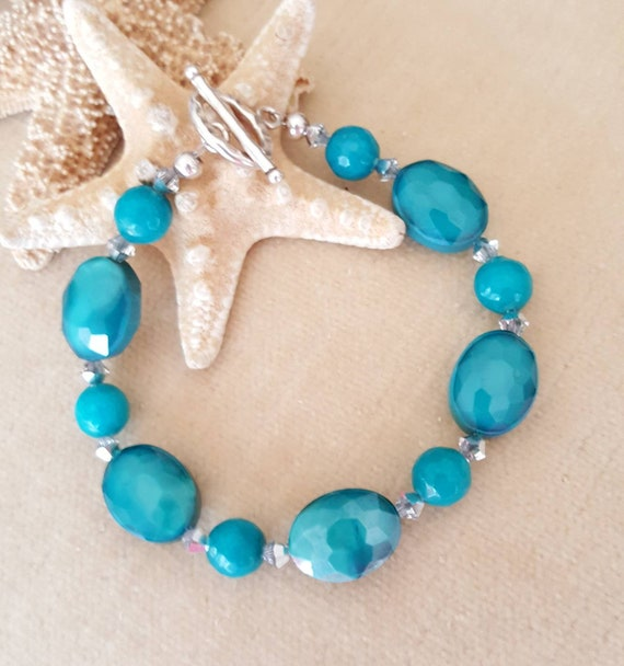 Agate & Crystal Bracelet! Gorgeous turquoise and teal colors! Lots of sparkle! Handcrafted with Sterling Silver and twinkling crystals!