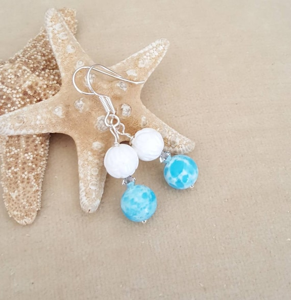 Aqua Terra Jasper & White Carved Shell drop earrings! Handcrafted with Sterling Silver and sparkling Swarovski crystals! Beautiful blues!