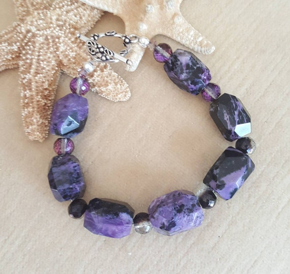 Charoite Bracelet! Handcrafted with vintage Russian Charoite,  Sterling Silver, and sparkling  crystals! Vintage beads!
