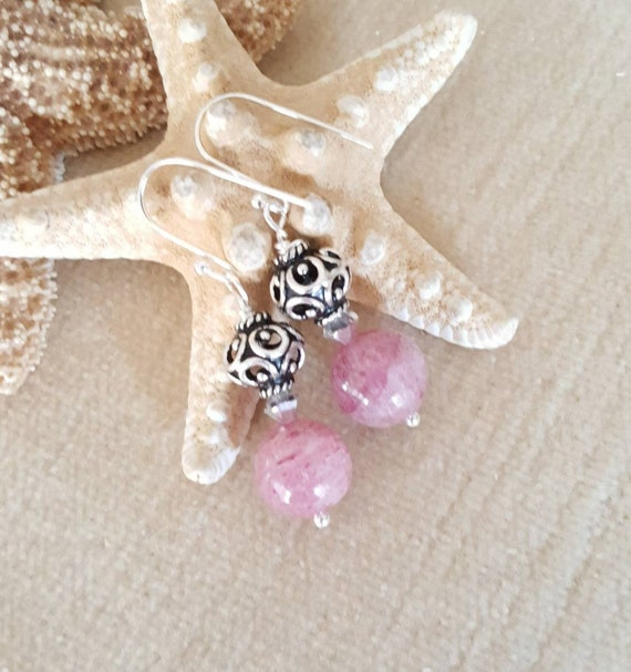 Strawberry Quartz Dangle Earrings! Handcrafted with Sterling Silver and sparkling Swarovski crystals!