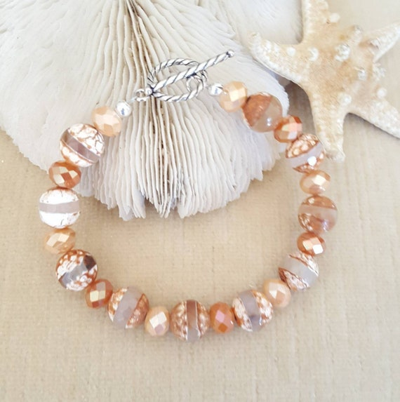 Coffee Fire Agate Bracelet! Handcrafted with Sterling Silver & sparkling crystals! Beautiful fall colors!