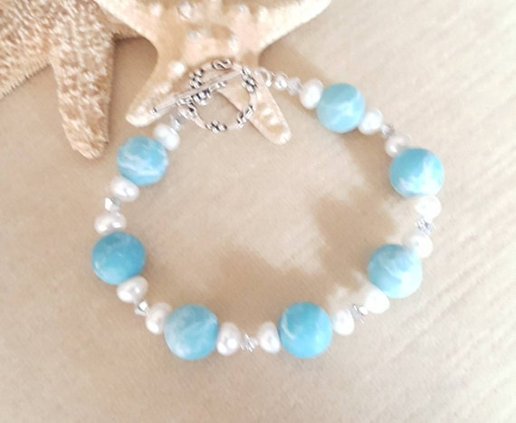 Blue Sky Jasper Bracelet! Handcrafted with Sterling Silver, white Freshwater Pearls, & sparkling silvery Swarovski crystals!