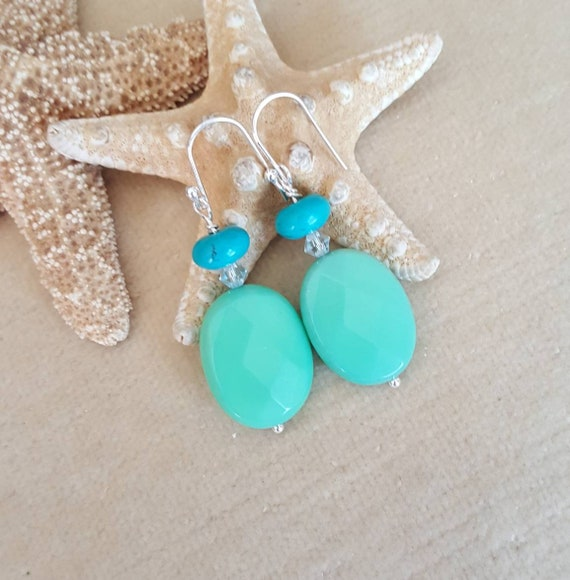Chrysoprase & Turquoise Dangle Earrings! Handcrafted with Sterling Silver and sparkling Swarovski crystals!