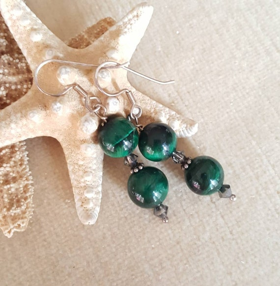 Green Tiger's Eye drop earrings! Handcrafted with Sterling Silver and twinkling Swarovski crystals! Gorgeous rich green hues!