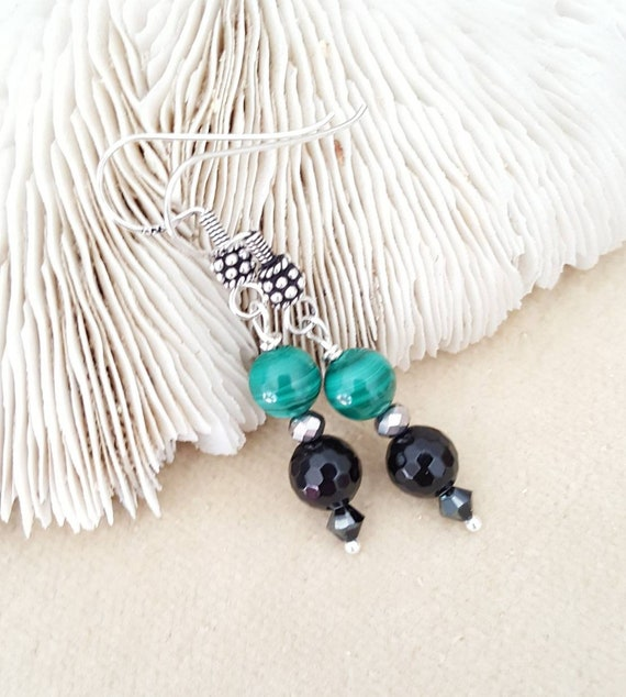 Malachite & Black Onyx Dangle Earrings! Handcrafted with Sterling Silver, sparkling silvery crystals, and black Swarovski crystals!
