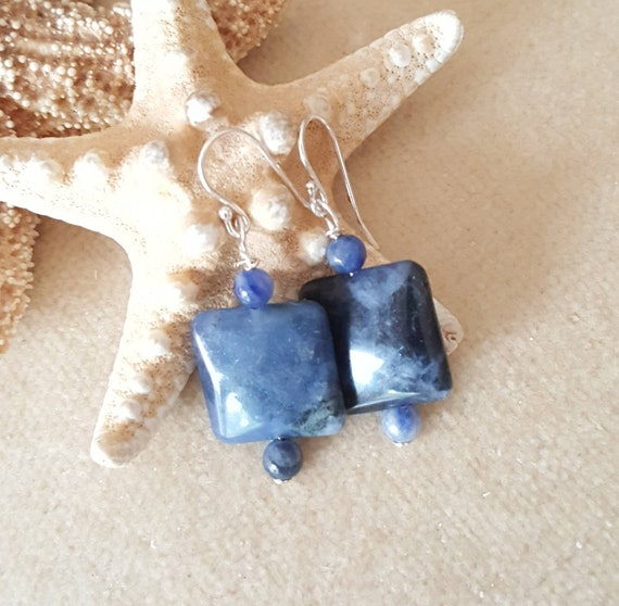 Sodalite drop earrings! Handcrafted with Vintage 1960's Sodalite beads and Sterling Silver! Gorgeous blue Sodalite!