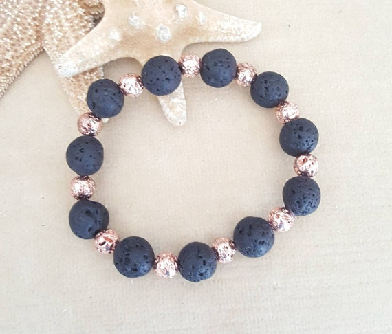 Lava Rock Stretch Bracelet! Black Lava Rock combined with titanium Lava Rock in a beautiful rose gold or copper color!