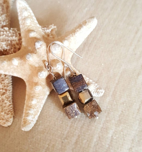 Bronzite & Crystal Earrings! Handcrafted with unique cubed beads and Sterling Silver! Gorgeous neutral shades! Bronze, gold, and silver!