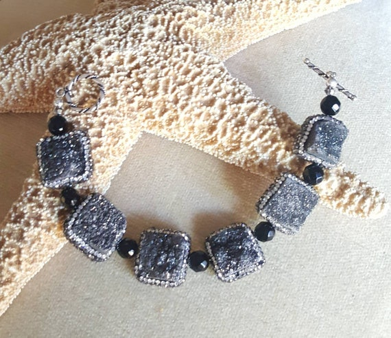 Druzy Agate & Black Onyx Bracelet! Handcrafted with Sterling Silver and sparkling Swarovski crystals! Gorgeous black sparkle!