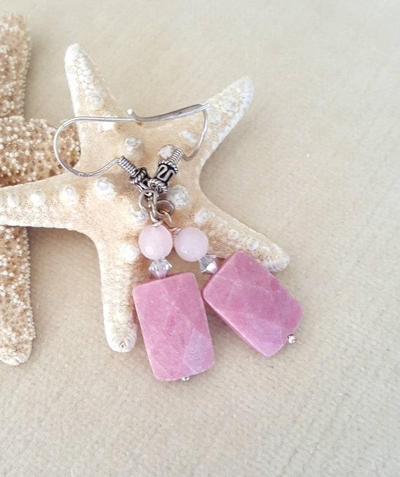 Rhodonite & Jade drop earrings! Handcrafted with genuine Rhodonite, Rosy Pink Jade, Sterling Silver, and silvery Swarovski crystals!