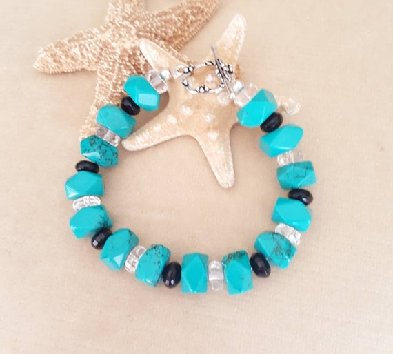 Turquoise Bracelet! Handcrafted with genuine turqoise, black onyx, & sparkling clear quartz! Sterling Silver!