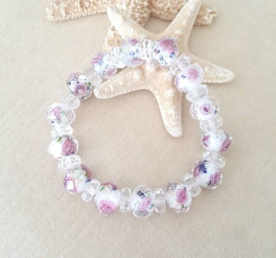 Lampwork & Clear Quartz Stretch Bracelet!Gorgeous colors and plenty of sparkle!