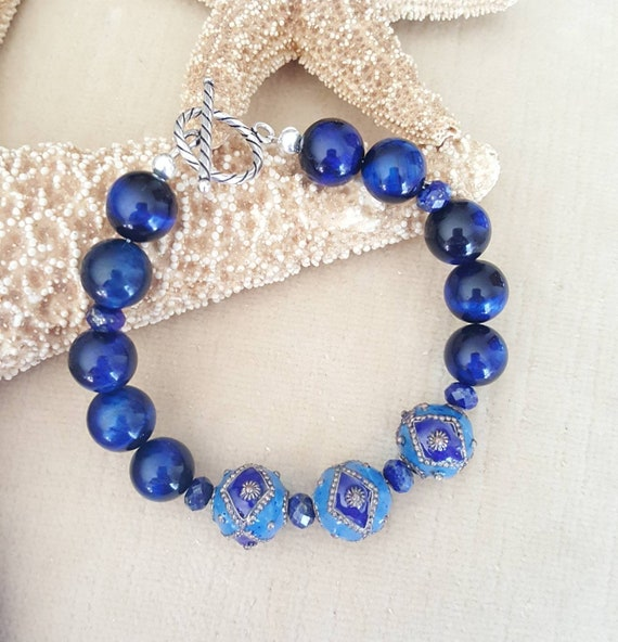 Blue Enameled bead, Tiger's Eye, & Sodalite Bracelet! Handcrafted with Sterling Silver! Beautiful blues!
