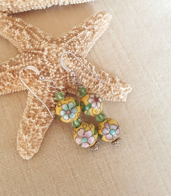 Colorful Vintage Cloisonne drop earrings! Handcrafted with Sterling Silver and sparkling Swarovski crystals!