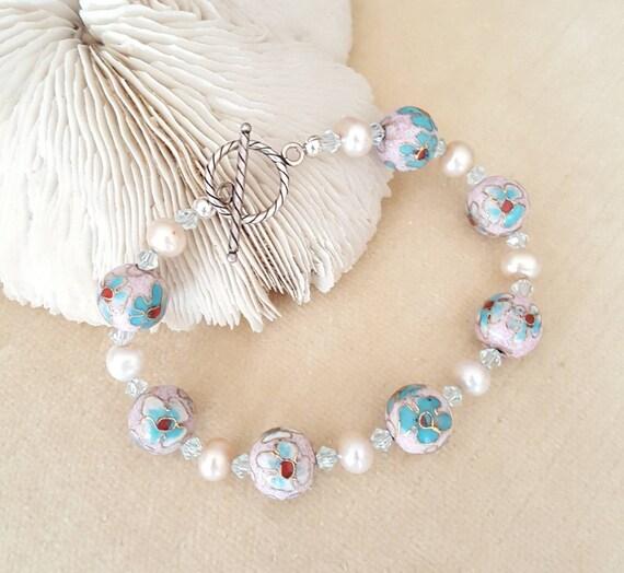 Lavender Cloisonne Bracelet! Handcrafted with Sterling Silver, Freshwater Pearls, & twinkling Swarovski crystals! Purple Cloisonne!