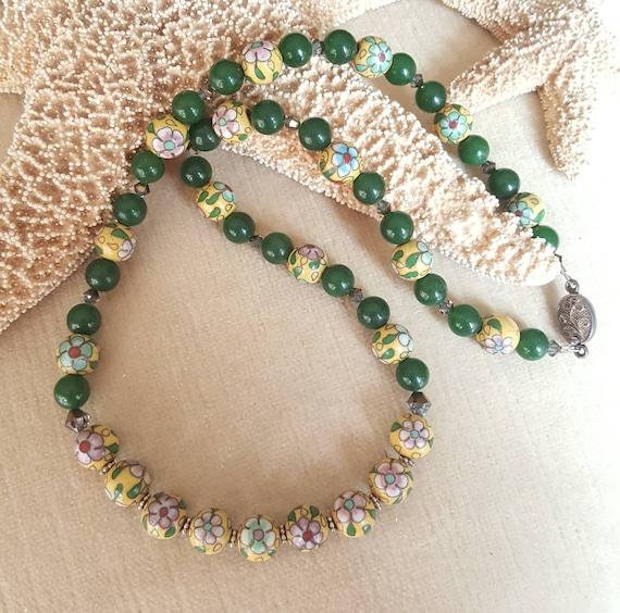 Colorful Vintage Cloisonne, genuine green Jade, Sterling Silver, & sparkling Swarovski crystals! Vintage beads and clasp! Unique!