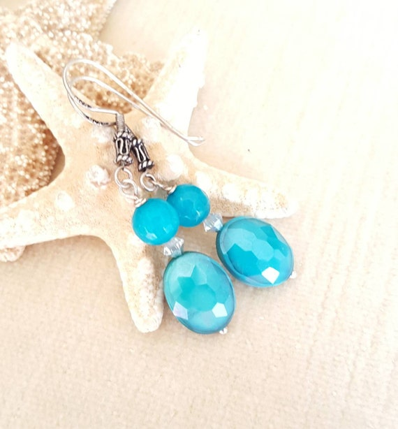 Turquoise Agate & Crystal dangle earrings! Handcrafted with Sterling Silver and twinkling silvery Swarovski crystals!
