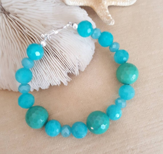 Chrysoprase & Amazonite Bracelet! Handcrafted with Sterling Silver and sparkling crystals! Beautiful blues and greens!